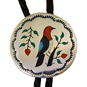 Inlaid Silver Bolo Tie Navajo Bird Zuni Style