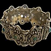 Mexica Silver Bracelet Pre Eagle Turquoise