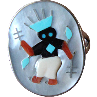 Zuni Silver Inlaid Ring Tony Ohmsatte Apache Dancer