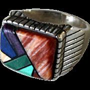 Vintage Navajo Silver Ring Inlaid Unisex