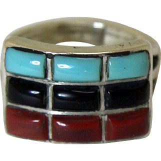 Vintage Native American Silver Inlaid Ring