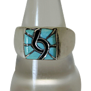 Vintage Zuni Inlaid Silver Ring Turquoise