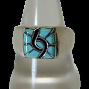 Vintage Zuni Inlaid Silver Ring Turquoise
