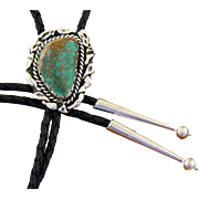Vintage Bolo Tie Silver Turquoise