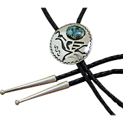 Vintage Hopi Bolo Tie Quail Decoration Turquoise