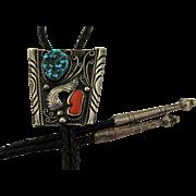Vintage Navajo Bolo Tie Turquoise Coral