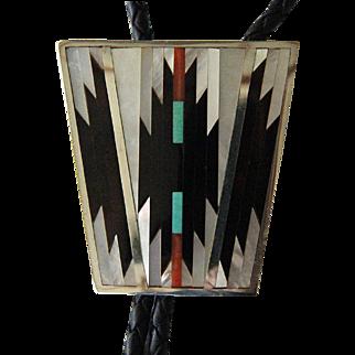 Vintage Zuni Bolo Tie Silver Inlaid Stone Shell