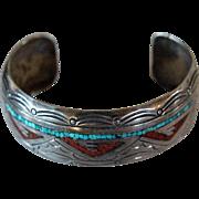 Vintage Navajo Silver Bracelet J Nezzie Inlaid