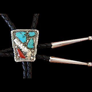 Vintage Zuni Bolo Tie Silver Turquoise Applique