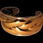 Vintage Kabana Sterling Bracelet Cuff 14K Gold