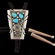 Vintage Silver Bolo Tie Turquoise Navajo