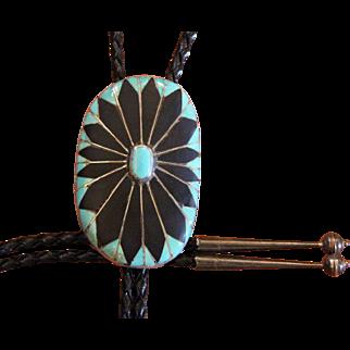 Vintage Inlaid Bolo Tie Zuni Silver Turquoise Jet
