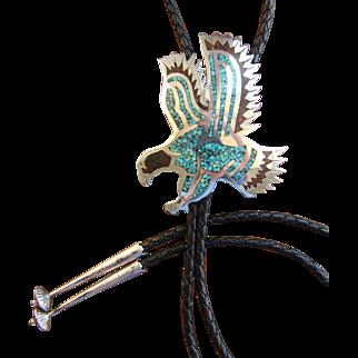 Vintage Silver Bolo Tie Navajo Inlaid Eagle B Nez