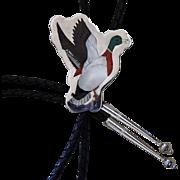Vintage Zuni Bolo Tie Inlaid Figural Mallard