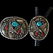 Vintage Navajo Silver Belt Buckle and Bolo Tie Set Allen Chee