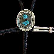 Vintage Silver Bolo Tie Navajo Turquoise
