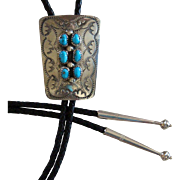 Vintage Silver Bolo Tie Navajo Turquoise Hand Stamped