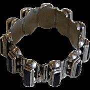 Vintage Mexican Bracelet Silver Onyx Pre Eagle