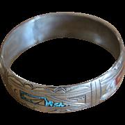Vintage Navajo Silver Bangle Bracelet Jimmie Nezzie 1970s