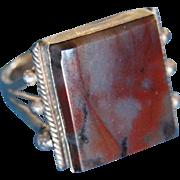 Vintage Navajo Mans Silver Ring Petrified Wood