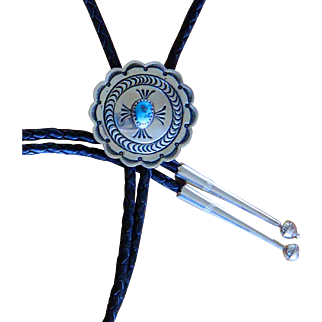 Vintage Navajo Bolo Tie Silver Concho Dennis James