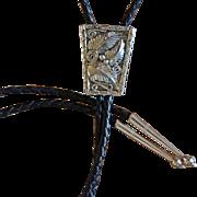 Vintage Silver Bolo Tie Navajo Applique