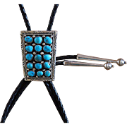 Vintage Silver Bolo Tie Turquoise Navajo Cluster