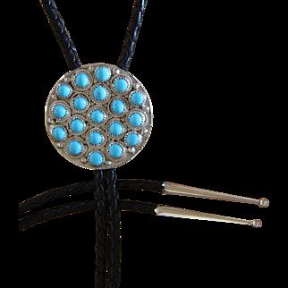 Vintage Navajo Turquoise Silver Bolo Tie Sandra Henrio