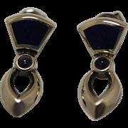Vintage Modernist Silver Earrings Lapis Amethyst Petite Dangles