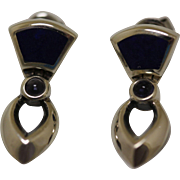 Vintage Modernist Silver Earrings Lapis Amethyst Petite Dangles
