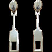 Vintage Tone Vigeland Silver Earrings Mid 20th Century Norwegian