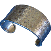 Vintage Mexican Cuff Bracelet Sterling Silver