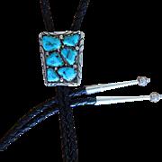 Vintage Zuni Silver Bolo Tie Turquoise A Penketewa