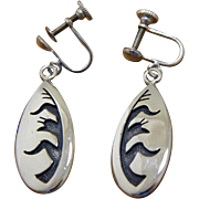 Vintage Hopi Silver Earrings Ted Wadsworth