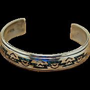 Vintage Navajo Silver Bracelet Nakai Inlaid Cuff
