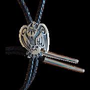 Vintage Hopi Silver Bolo Tie Eagle Hopicrafts