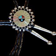 Vintage Zuni Silver Bolo Tie Inlaid Sun Face