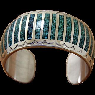 Vintage Navajo Silver Cuff Bracelet Inlaid Corbet Joe