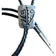 Vintage Navajo Silver Bolo Tie Abstract
