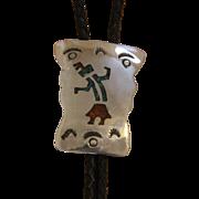 Vintage Navajo Silver Bolo Tie Inlaid Dancer