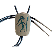 VIntage Navajo Silver Bolo Tie Inlaid Turquoise Figure