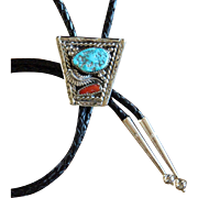 Navajo Silver Bolo Tie Turquoise Coral Augustine Largo