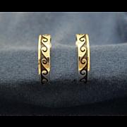 Vintage Hopi Silver Earrings Hoops Duane Koinva