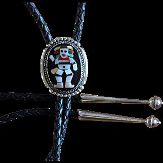 Zuni Silver Bolo Tie Beverly Etsate Inlaid Clown Kachina
