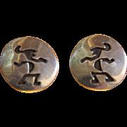 Vintage Navajo Silver Earrings Abstract Figural