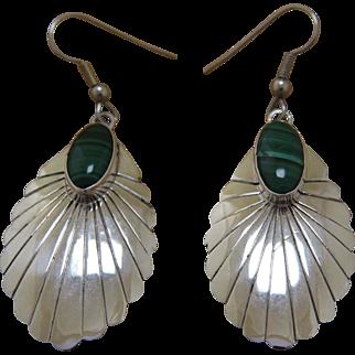 Vintage Navajo Silver Earrings Nakai Malachite