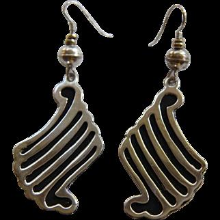 Vintage Silver Mexican Earrings Modernist Dangle