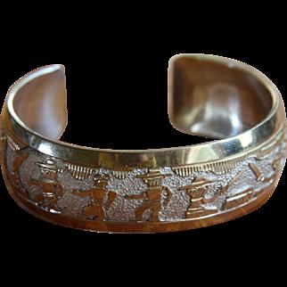 Vintage Navajo Silver Bracelet Storyteller Tom and Sue Kee