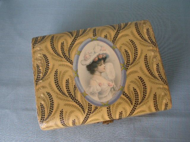 Celluloid dresser box Lady Portrait in Oval mint condition celluloid
