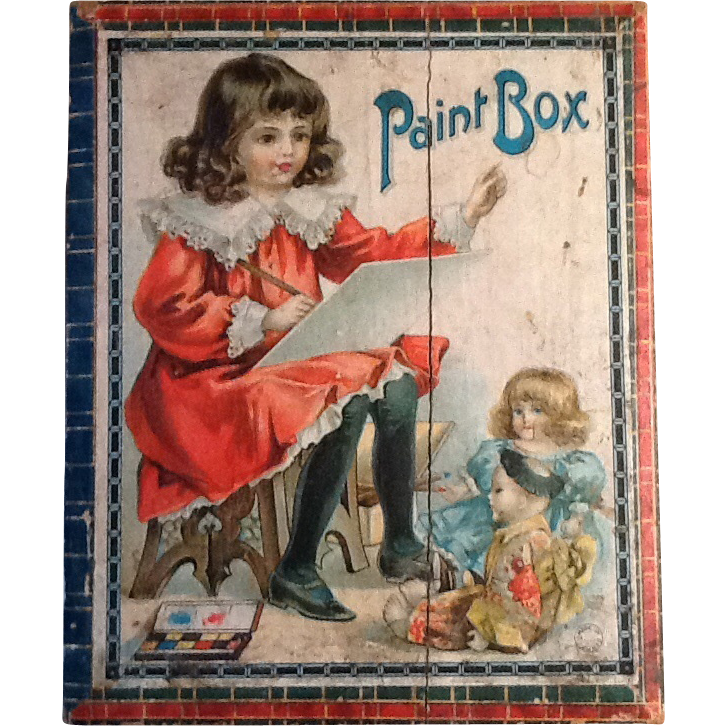 Antique Victorian Child Painting Set Great Graphics Complete Original